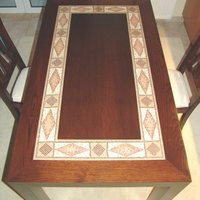 Mosaic Table with Wood Frame (Marble Tesserae)
