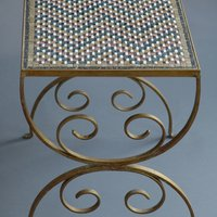 Mosaic Table with Metal Frame (Marble Tesserae)