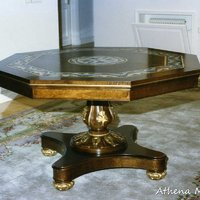 Mosaic Table with Wood Frame (Marble and Gold Tesserae)